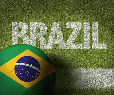 Soccer field with the text Brazil