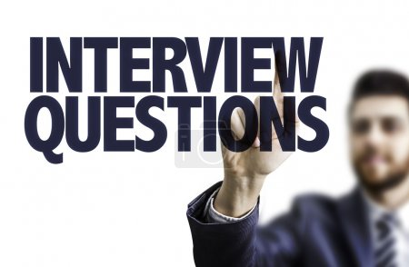 Photo pour Homme pointant du doigt le texte : Questions d'interview - image libre de droit