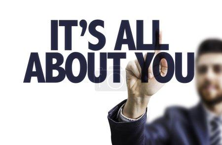 Photo pour Homme pointant son doigt sur le texte : c'est All About You - image libre de droit