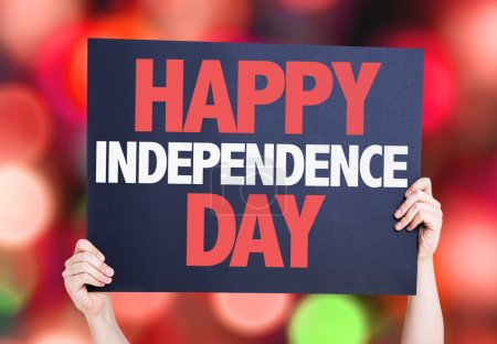 Photo for Happy Independence Day card with bokeh background - Royalty Free Image