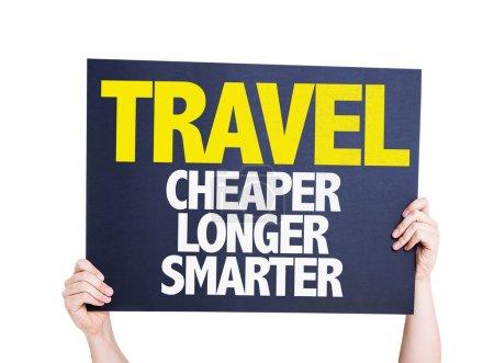 Photo pour Carte-voyage moins cher plus plus intelligent isolé sur fond blanc - image libre de droit