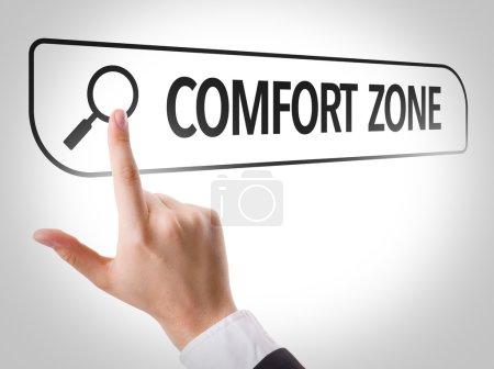 Photo pour Zone de confort écrite dans la barre de recherche sur l'écran virtuel - image libre de droit