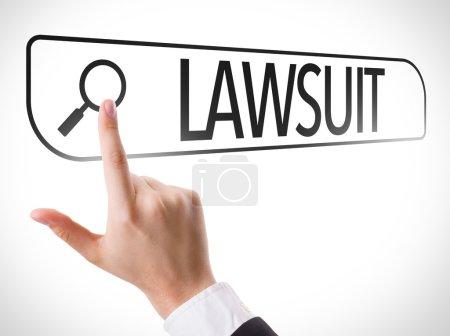 Lawsuit written in search bar on virtual screen...