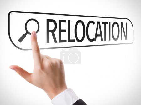 Photo for Relocation written in search bar on virtual screen - Royalty Free Image