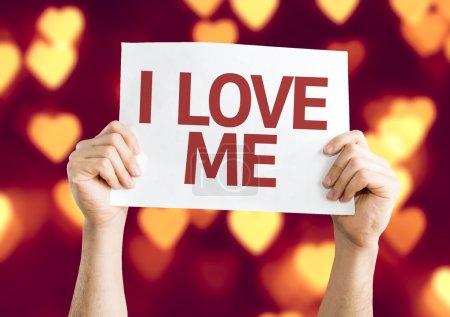 Photo pour I Love Me carte avec fond bokeh coeur - image libre de droit