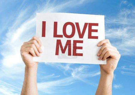 Photo pour I Love Me carte avec fond ciel - image libre de droit
