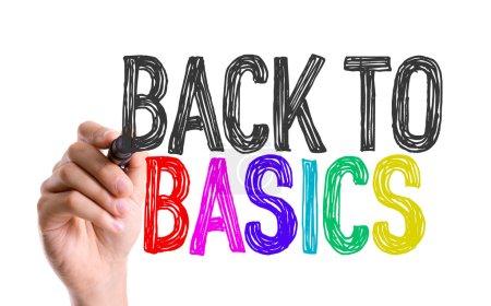 Photo pour Main avec le marqueur écrire les paroles de Back to Basics - image libre de droit