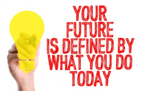 Photo for Hand with marker writing the text: Your Future is Defined By What You Do Today - Royalty Free Image