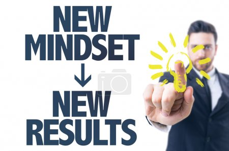Photo for Business man pointing the text: New Mindset New Results - Royalty Free Image