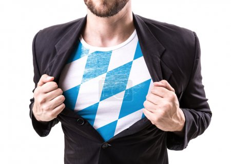 Businessman stretching suit with Bavarian Flag