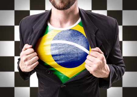 Businessman stretching suit with Brazilian flag