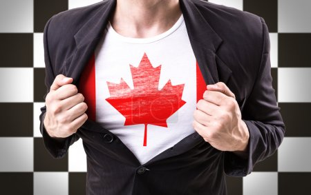 Businessman stretching suit with Canadian flag