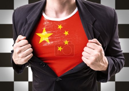 Businessman stretching suit with Chinese flag