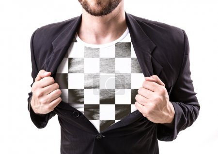 Businessman stretching suit with checkered flag