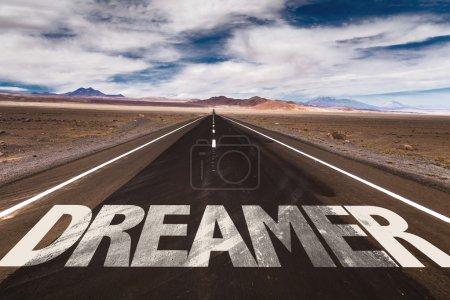 Dreamer on desert road