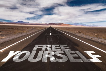 Photo for Free Yourself written on desert road - Royalty Free Image