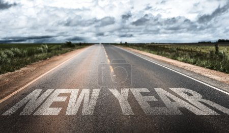 Photo for New Year written on rural road - Royalty Free Image