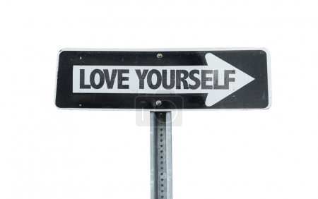 Love Yourself direction sign isolated on white bac...
