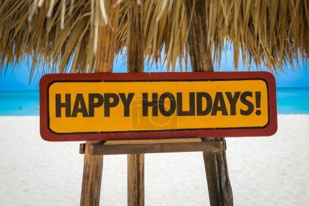 Photo pour Bonne fête signe avec fond de plage - image libre de droit