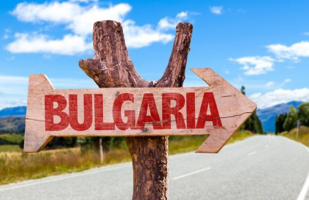 Photo for Bulgaria wooden sign with road background - Royalty Free Image