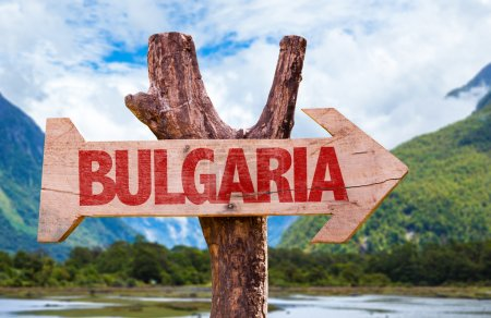 Photo for Bulgaria wooden sign with landscape background - Royalty Free Image