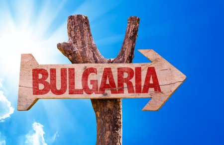 Photo for Bulgaria wooden sign with sky background - Royalty Free Image