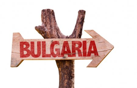 Photo for Bulgaria wooden sign isolated on white background - Royalty Free Image
