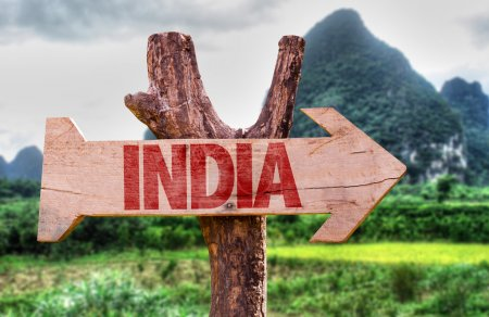 Photo for India wooden sign with rural background - Royalty Free Image