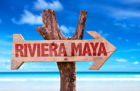 Riviera Maya wooden sign