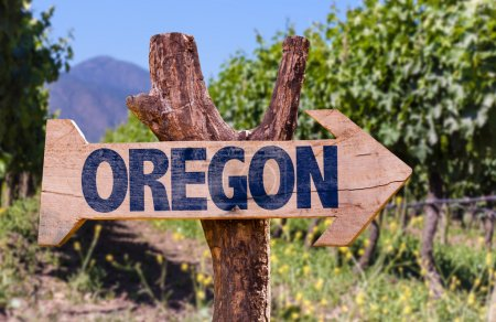 Oregon wooden sign with winery background...