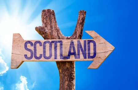 Photo for Scotland wooden sign with sky background - Royalty Free Image