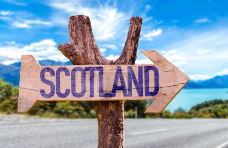 Photo for Scotland wooden sign with road background - Royalty Free Image