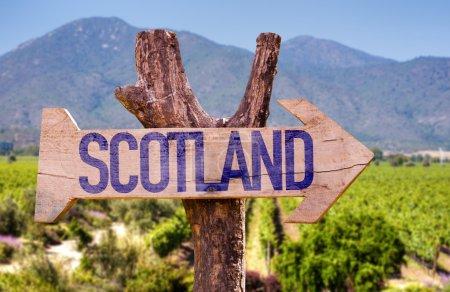 Photo pour Panneau en bois en Écosse avec fond rural - image libre de droit