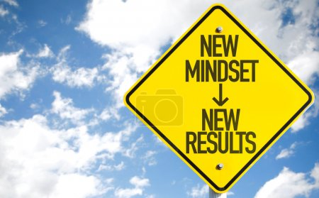 Photo for New Mindset - New Results sign with sky background - Royalty Free Image