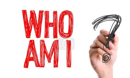 Photo pour Main avec l'écriture de marqueur : qui suis-je? - image libre de droit
