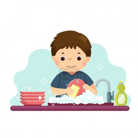 Vector illustration cartoon of a little boy washing the dishes in kitchen. Kids doing housework chores at home concept.