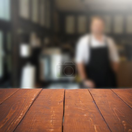 Photo for Empty table and blurred people in cafe background, product display - Royalty Free Image