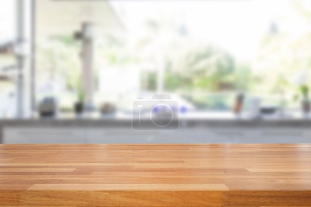 Photo for Empty wooden table and blurred kitchen background, product  montage display - Royalty Free Image