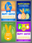 Happy easter colorful vector illustration Flyer templates Set with silhouettes of rabbit, big - eared bunny - egg with teeth, chicken and rabit silhouettes in egg ball