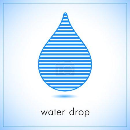 Water drop abstract vector logo design template. horizontal line art creative concept