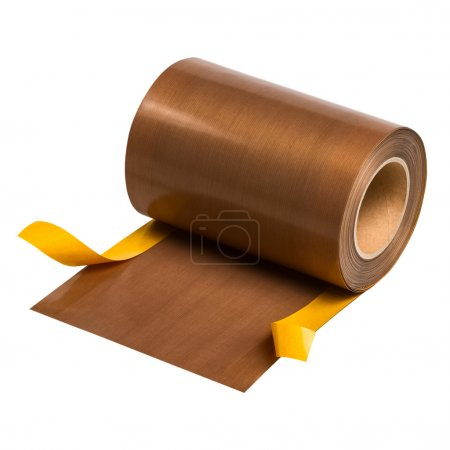 PTFE coated glass fabric with self adhesive layer on white backg