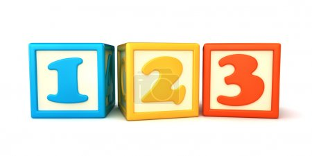 123 building blocks on white background...