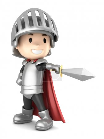 3d render of a cute knight boy pointing his sword...