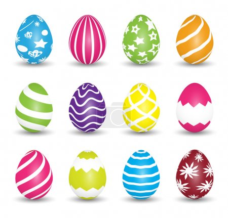 Set of colorful Easter Eggs isolated on white background. Vector illustration.