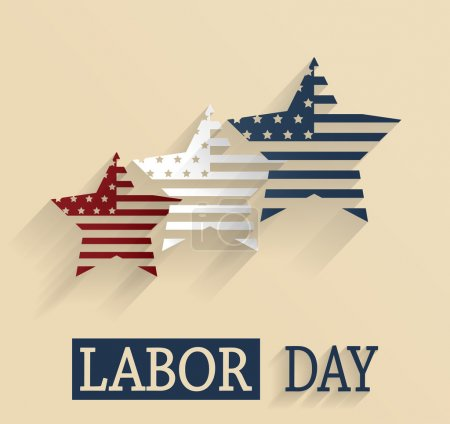 Happy Labor Day. Red, white and blue stars. Vector illustration.