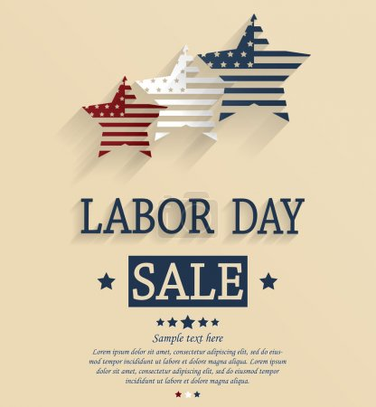 Labor Day sale. Red, white and blue stars. Vector illustration