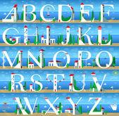 Summer Alphabet Cute Sea Town