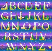 Summer Alphabet Vector Illustration