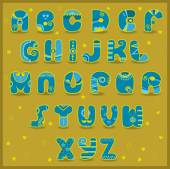 Fairy Alphabet Funny blue and yellow letters