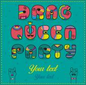 Inscription Drag Queen Party Funny pink Letters with bright par